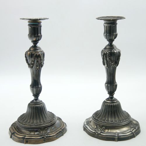 FRANCE 19th century  Pair of 800/1000th silver torches in the Louis XV style, th…