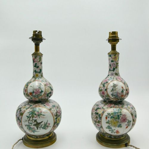 CHINA 20th CENTURY  Pair of double gourd vases mounted in a long neck lamp in po…