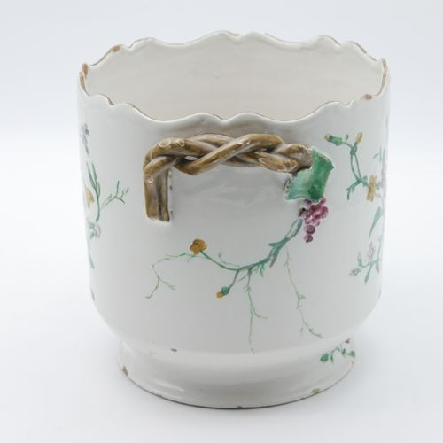 SOUTH FRANCE 18th CENTURY  White enamelled earthenware cooler with polychrome fl…