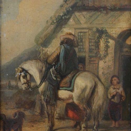 Gysbertus CRAEYVANGER (1810 1895)  The rider's halt  Oil on panel  Signed lower …