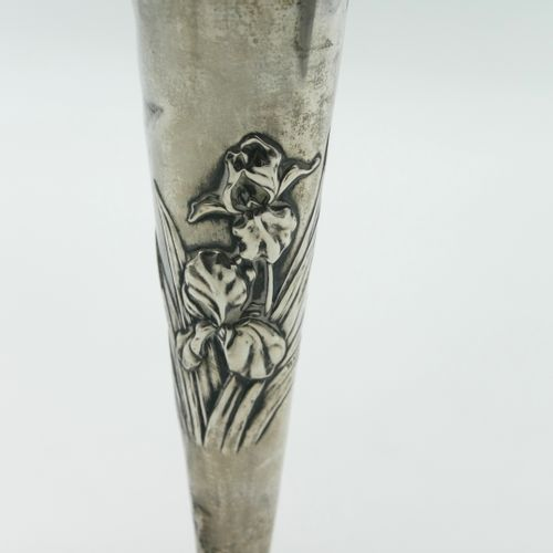 ENGLAND  925/1000th sterling silver vase with iris embossed decoration resting o…