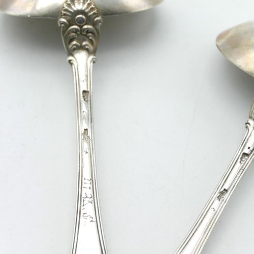 MONTPELLIER 18th CENTURY  Two sauce spoons in silver with a leafy design embelli…