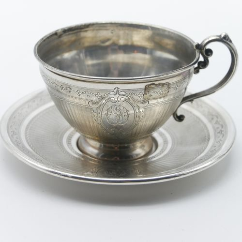 XIXth CENTURY  950/1000e silver cup and saucer with wavy guilloché decoration an…