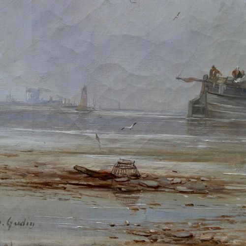 Theodore GUDIN (1802 1880)  Sailboat at low tide  Oil on canvas  Signed lower le…