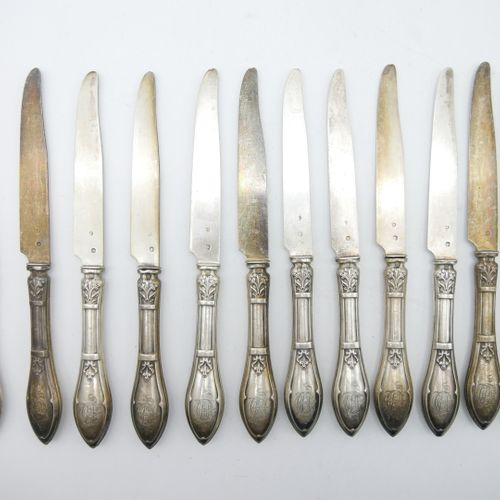 FRANCE XIXth CENTURY  Set of 12 fruit knives in silver and 925/1000e sterling si…