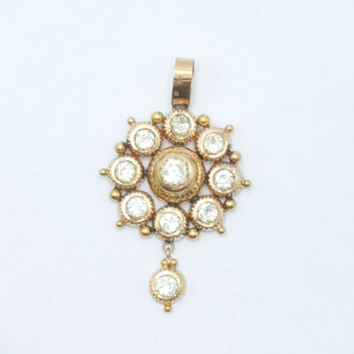 FRANCE Regional work late 19th early 20th century  Gold pendant 750/1000 set wit…