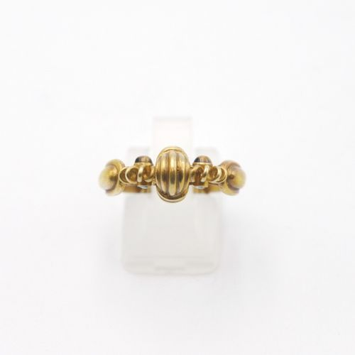 FRANCE 20th CENTURY  Gold ring 750/1000e, composed of wires in winding, decorate…