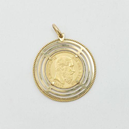Pièce de 20 francs or belge, Léopold II, 1875, montée en pendentif monture en or…