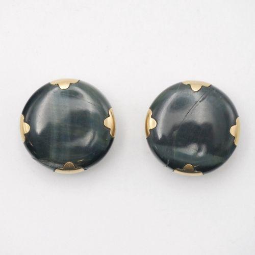 XXe SIÈCLE  Paire de boutons de manchettes ronds en pierre dure polie noir oeil …