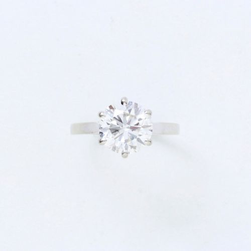 FRENCH WORK  Solitaire ring in white gold 750/1000e, set with a brilliant cut di…