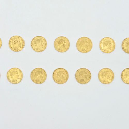 FRANCE Second Empire  Fourteen gold coins 20 francs Napoleon III bare head, 1854…