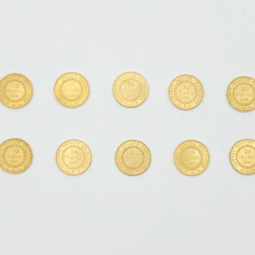 FRANCE Third Republic  Ten gold coins 20 francs au Génie, 1875 (2), 1876, 1877, …