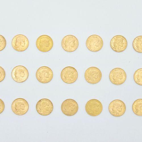FRANCE Third Republic  Twenty one 20 franc gold coins with Coq Marianne, 1901, 1…
