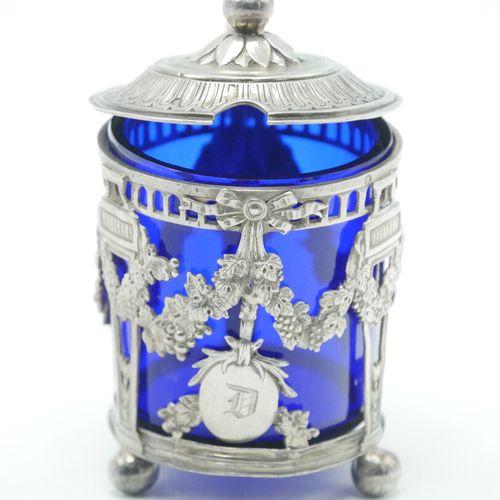 FRANCE XIXe SIÈCLE  Moutardier, monture en argent 800/1000e de style Louis XVI, …