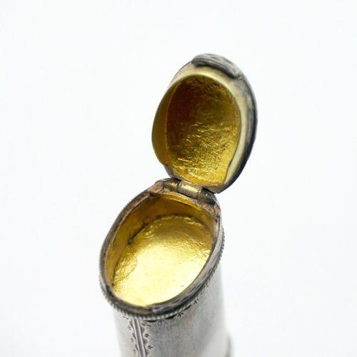 FRANCE 1789 1809  Étui à cire en argent gravé et partiellement doré, le couvercl…