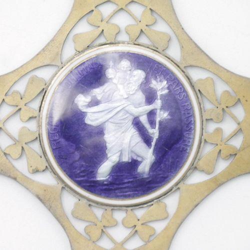 DÉBUT DU XXe SIÈCLE  Plaque en argent ajourée et émaillée figurant Saint Christo…