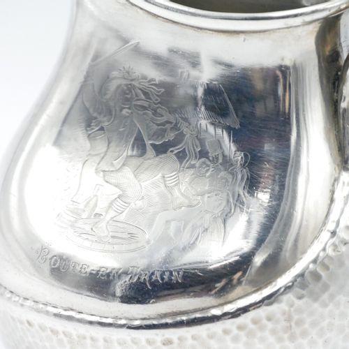 Albert BEAUFORT, Paris FIN DU XIXe SIÈCLE  Pichet en argent martelé et gravé Vil…