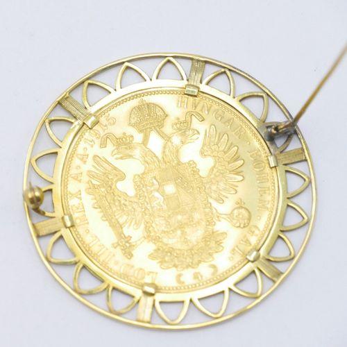 Pièce de 4 ducats en or, François Joseph Ier, Refrappe, 1915, Vienne, montée en …