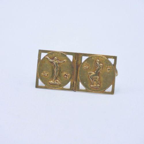 Maurice DELANNOY, d'après XXe SIÈCLE  Bracelet ruban articulé en or 750/1000e co…