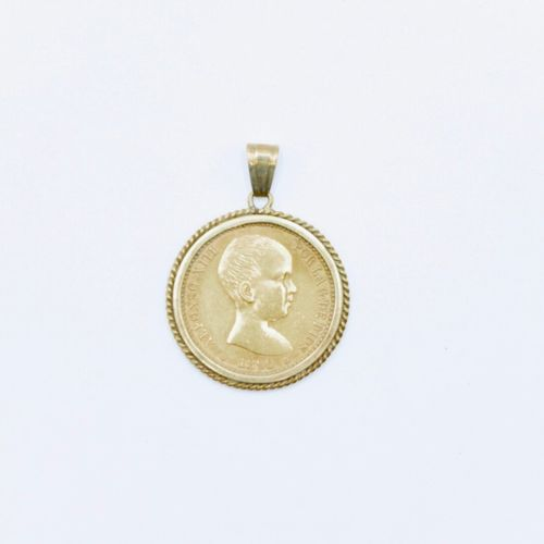 Coin of 20 pesetas in gold, Alphonso XIII, 1990, mounted in pendant in gold 585/…