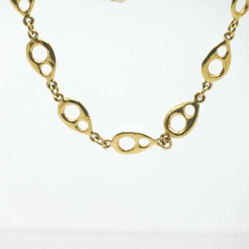 VINTAGE  Collier en métal doré à maille en forme de goutte ajourée  L. Totale : …