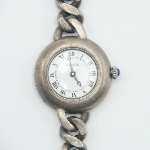 A. BARTHELAY  Montre bracelet en argent 800/1000e, cadran blanc à chiffres romai…