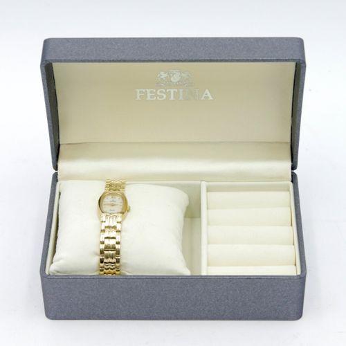 FESTINA  Montre bracelet de dame en métal doré, cadran fond nacre à index et chi…