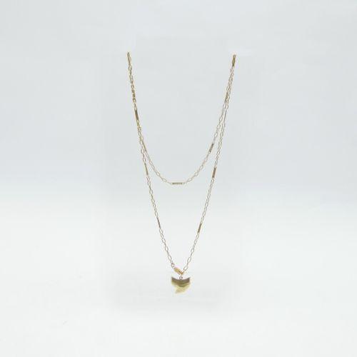 Longue chaîne en or 750/1000e à mailles ovales agrémentés d'une maille à décor t…