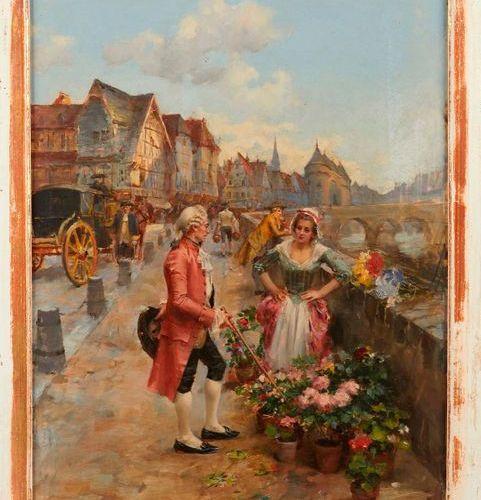 Henri Victor LESUR (1863 1900)  Fleuriste et gentilhomme au bord de la seine.  H…