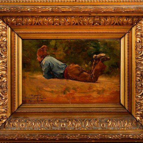 Alphonse MOUTTE (1840 1913)  Un homme à terre.  Huile sur panneau.  Signée et dé…
