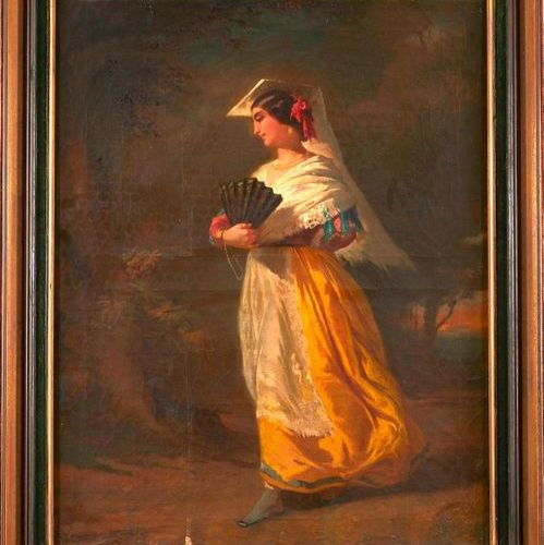 Ecole provençale du XIXème siècle.  Femme galante.  Huile sur toile.  62,5 x 49,…