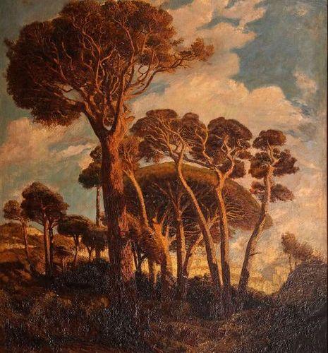 Prosper Grèsy (1804 1874)  Les pins  Huile sur toile.  Signé en bas à droite.  1…