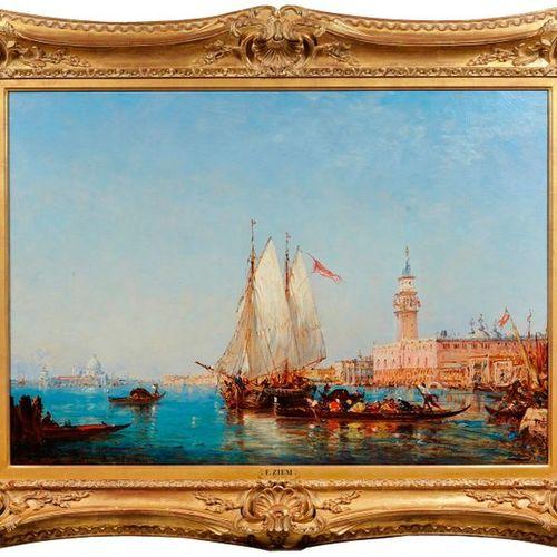 Félix ZIEM (1821 1911)  Le Palais des Doges, vu du Bassin San Marco.  Huile sur …