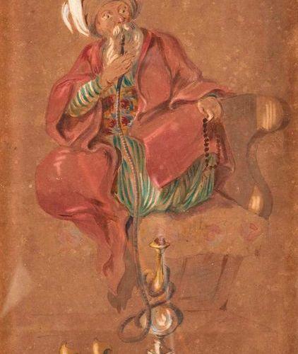 Louis Amable CRAPELET (1822 1867)  Fumeur de chicha  Aquarelle et crayon sur pap…