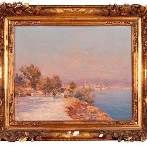 Raymond ALLEGRE (1857 1933)  Balade en bord de côte.  Huile sur panneau.  Signée…