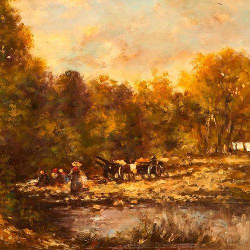 F. PERRET (XIXème siècle) ?Lavandières en bord de rivière.  Huile sur panneau.?S…