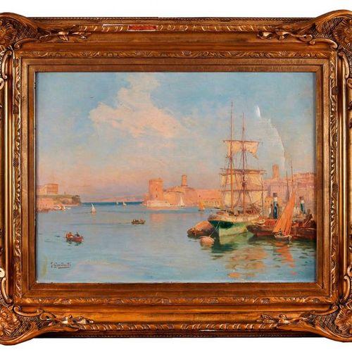 Joseph GARIBALDI (1863 1941)  Bateaux dans le port de Marseille.  Huile sur toil…
