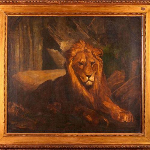 Antoine Louis BARYE (1796 1875)  Lion au repos.  Huile sur toile.  Signée en bas…