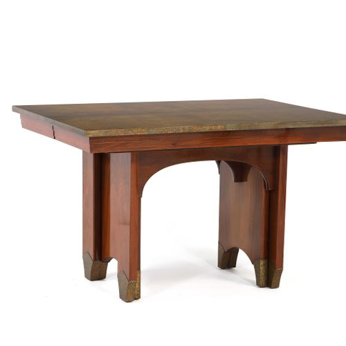 Eugène PRINTZ (1879 1948)  Walnut and brass table 75 x 91 x 125 cm. Circa 1930  …