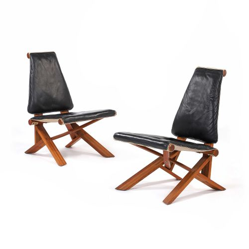 Pierre CHAPO (1927 1986)  Pair of S46Y armchairs called Chlacc Orme, leather 93 …