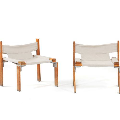 Georges CANDILIS (1913 1995) & Anja BLOMSTEDT (1937)  Pair of armchairs Ash, alu…