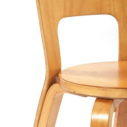 Alvar AALTO (1898 1976)  2 chairs called 65 Birch plywood 65 x 40 x 40.5 cm.Arte…