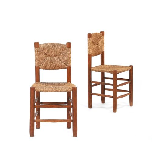 Charlotte PERRIAND (1903 1999)  Pair of chairs called 18 Paille, wood 82 x 43 x …
