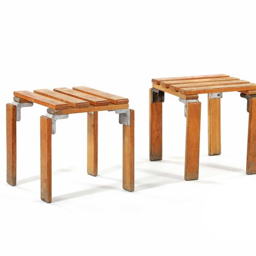 Georges CANDILIS (1913 1995) & Anja BLOMSTEDT (1937)  Suite of 2 stools Ash, alu…