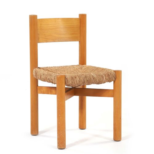 Charlotte PERRIAND (1903 1999)  Chair called Méribel Paille, pine 71 x 41 x 41 c…