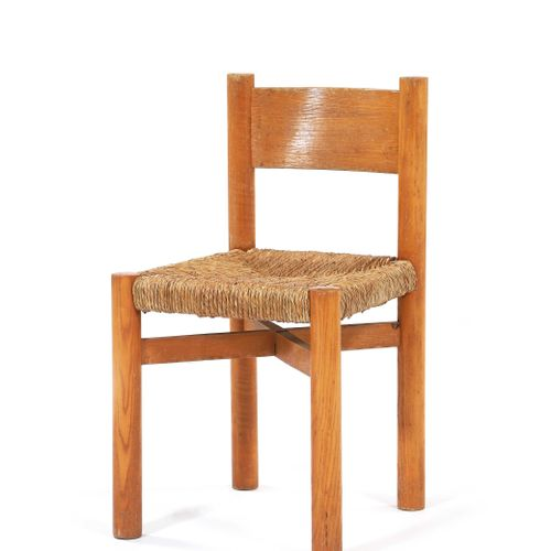 Charlotte PERRIAND (1903 1999)  Chair called Méribel Paille, pine 76 x 42 x 42 c…