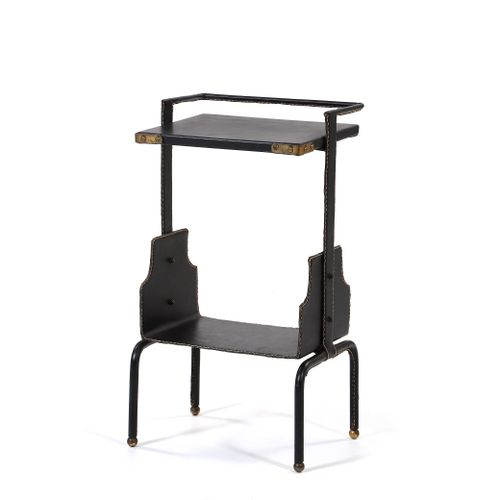 Jacques ADNET (1901 1984)  Side table Leather, brass 56 x 30 x 25 cm. Circa 1955…