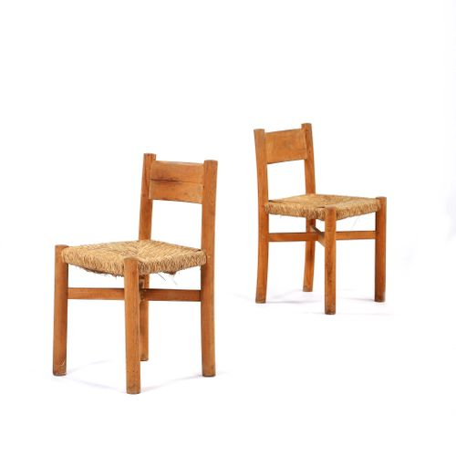 Charlotte PERRIAND (1903 1999)  Pair of chairs called Méribel Paille, pine 76 x …