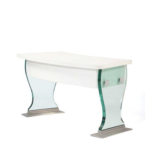 FRENCH WORK  Desk Leather, glass, steel 74 x 145 x 60 cm. Circa 1950  Boomerang …