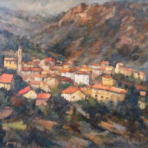 Daniel JAUGEY (1929)  Village de Vico en Corse. 1968  Huile sur toileSignée et …